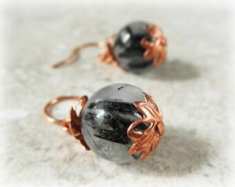 Gemstone Earrings. Tourmalinated Quartz Earrings. Solid Copper Earrings. Drop Earrings. OOAK