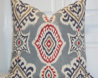 IKAT BOTH SIDES - Decorative Pillow Cover - Red Pillow - Blue Indigo Pillow - Tan pillow - Accent Pillow - Kilim Pillow