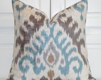 VELVET Decorative Pillow Cover - IKAT in Aqua Tan Grey  - EURO Sham - Accent Pillow - Sofa Pillow