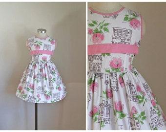 vintage 1950s little girl's dress - DOLL HOUSE novelty print dress / 7yr