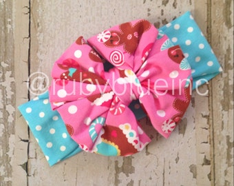 Old Fashioned Christmas Messy Bow Head Wrap