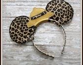 Safari Hat Mouse Ears Headband - CUSTOM - Twincess Bowtique