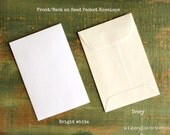 """SALE! 25 Standard Size Seed Packet Envelopes, Recycled White or Ivory, Seed Envelopes, Favor Envelopes, Recycled 3x4.5"""" (76x114mm)"""
