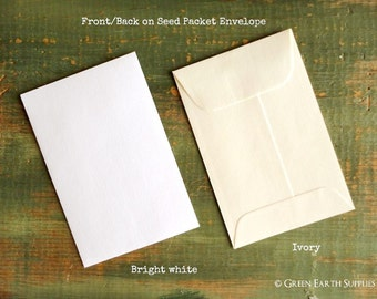 "SALE! 25 Standard Size Seed Packet Envelopes, Recycled White or Ivory, Seed Envelopes, Favor Envelopes, Recycled 3x4.5"" (76x114mm)"