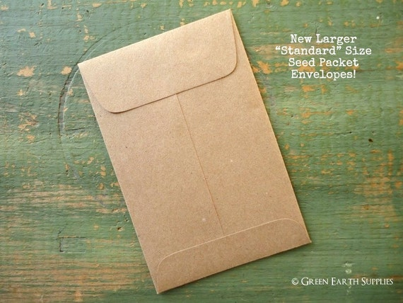 25 Standard Seed Envelopes Kraft Brown Standard Size Seed