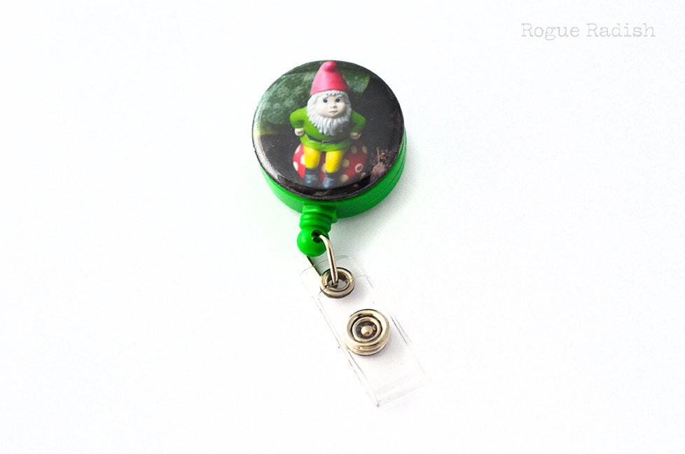 gnome id holder elf badge reel green retractable pulley. Black Bedroom Furniture Sets. Home Design Ideas