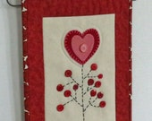 PDF Tree of Love E-Pattern Valentine quilted wall hanging Instant Download