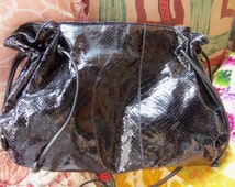 80s CARLOS FALCHI--Shiny Slouchy Snakeskin--Python Shoulder Bag--Nice and Roomy
