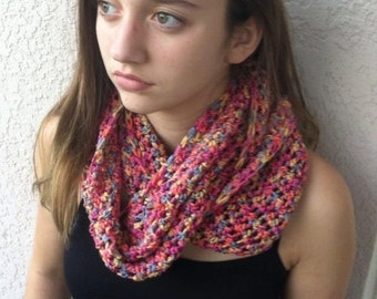 multicolored pink, purple, green, blue, infinity scarf.  cowl. crochet scarf