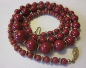 Lady In Red - Vintage Stone Bead Necklace