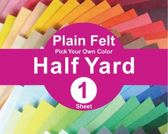 1 HALF YARD Plain Felt Fabric - pick your own color (A1/2y)