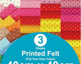 3 Printed Felt Sheets - 40cm x 40cm per sheet - pick your own colors (PR40x40)