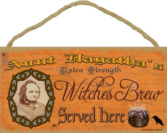 "Aunt Hagatha's Witches Brew Halloween Fall Sign Plaque Decor 5""x10"""