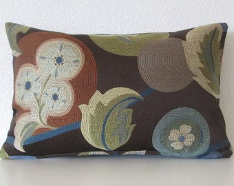 Esme River floral leafs brown blue green decorative pillow cover