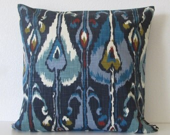 Robert Allen Ikat Bands Indigo blue colorful decorative pillow cover
