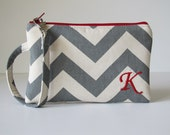 Monogrammed Clutch, Zipper Pouch, Personalized Holiday Gift For Her, Embroidered iPhone Pouch, Chevron, You Choose  Colors