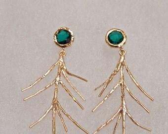 Branch Earrings, Gold Earrings, Emerald Green Glass Stone, Dangly Earrings, Gift for Her