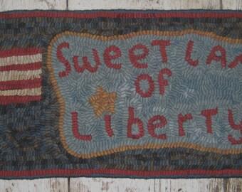 Folk Art Primitive Hand Hooked Americana Rug