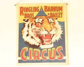 VINTAGE CIRCUS POSTER, circus poster, fabric wall hanging tiger poster, circus themed bedroom, unisex bedroom wall decor, boys tiger room