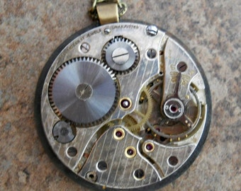 READY TO SHIP Steampunk Double Sided Pocket Watch Pendant-Vintage Watch Movement with Dragonfly Watch Hands