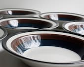 Vintage 1962 Arabia Kaira Rimmed Soup Bowls Set of Eight