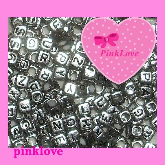 Silver Alphabet Beads: Silver Cube Beads Alphabet Beads Letter Beads 6mm 100