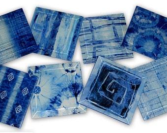 Indigo Batik Tie Dye Coasters - Set of 8, 6 OR 4 Handmade Beveled Glass Tile Coaster Set - GeoForms Collection - I've Got the Blues