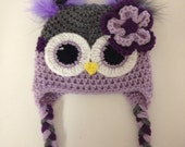 Grey purple and lavender owl hat and daiper cover