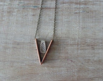 Copper silver chevron necklace