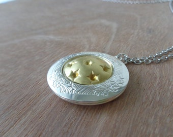 Stars brass silver locket