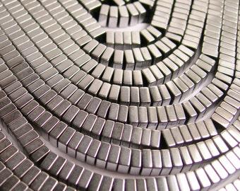 Hematite silver - 4x2mm heishi square slice beads - full strand - 190 beads - A quality  - PHG102