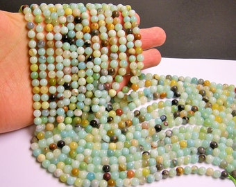Amazonite - 6 mm round beads -1 full strand - 65 beads - RFG275