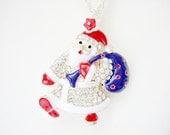 Santa Claus Necklace,Christmas Jewelry, Santa Necklace, Christmas Santa,Winter Necklace,Secret Santa Gift, Xmas Necklace