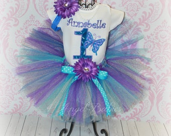 Spring BUTTERFLY PRINCESS Girls Birthday Tutu Outfit Turquoise, Blue & Purple 3 Piece First, Second, Third Pick Size, Number, and Fabric