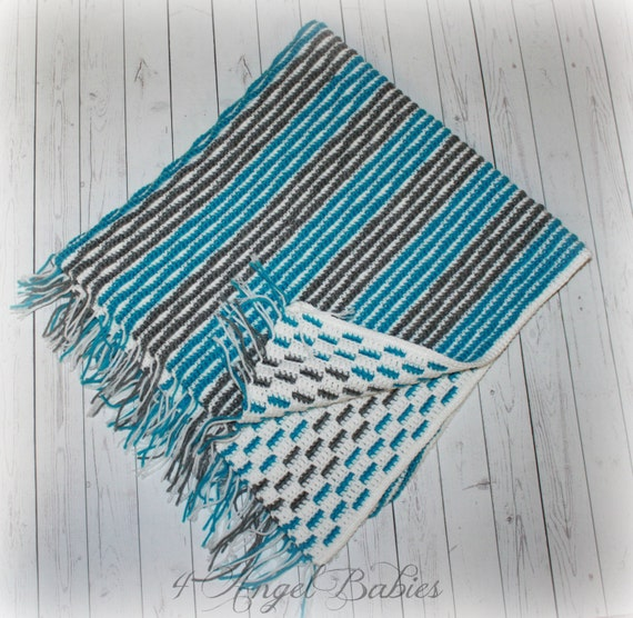 ... PinkGray NavyGray Hot PinkLight Nautical Crochet Baby Blanket