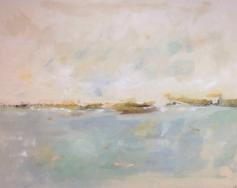 Large Blue Abstract Seascape - Quiet Coast 48 x 36