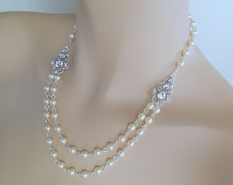 Pearl Necklace Bridal jewelry bridal necklace wedding necklace vintage style necklace antique silver Swarovski crystals and pearls PENELOPE