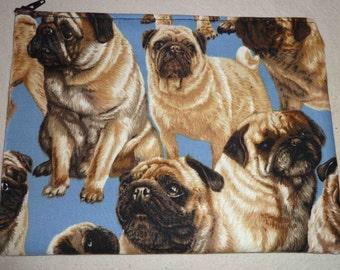 1 Vintage Fabric Pug Accessory Bag Michael Miller fabric