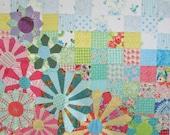 Modern Quilt, Garden Quilt, Flower Quilt, Lap Quilt, Patchwork Quilt by Dreamy Vintage Sheets