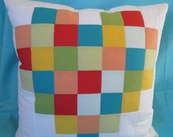 Pixel Heart Pillow Cover, Modern Patchwork Pixel Heart Pillow Cover Handmade by Dreamy Vintage Sheets