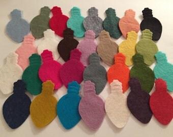 Wool Felt Holiday Lights 30 total - Random Colors. 2489