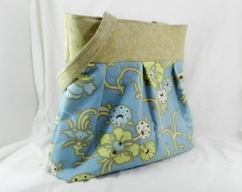 Amy Butler Bag, Gypsy Caravan, Blue and Taupe, Velvet Vine, Large Purse, Cream and Blue, Library Bag, Book Bag, Pretty Spring Tote