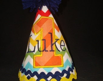 PERSONALIZED BOY'S Birthday Hat - Party Hat - Appliqued One with Name in Rainbow Chevron, Orange, Yellow and Navy