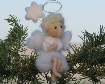 Needle felted Christmas Angel Ornament  Waldorf inspired Home decor