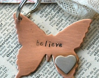 Hand Stamped Copper Butterfly Keyring With Silver Heart  Tattoo - Tattooed Butterfly By Inspired Jewelry Designs