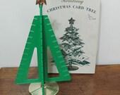 Vintage Green Plastic Revolving Christmas Card Tree With Box by Davis