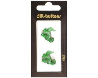 Dill Dinosaur Button 20mm Shank Green Dinosaurs Carnivore T-Rex Tyrannosaurus Rex