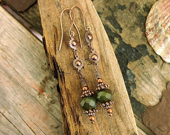 Ladies Faceted Fancy Jasper Copper Beads and Cog and Ball Chain Earrings