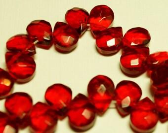 Vintage Czech Glass 12x9mm Siam Tear Drop Bead (25)