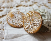 Handmade Buttons / Antique Gold Filigree / Handcrafted Polymer Clay Button Autumn Fall